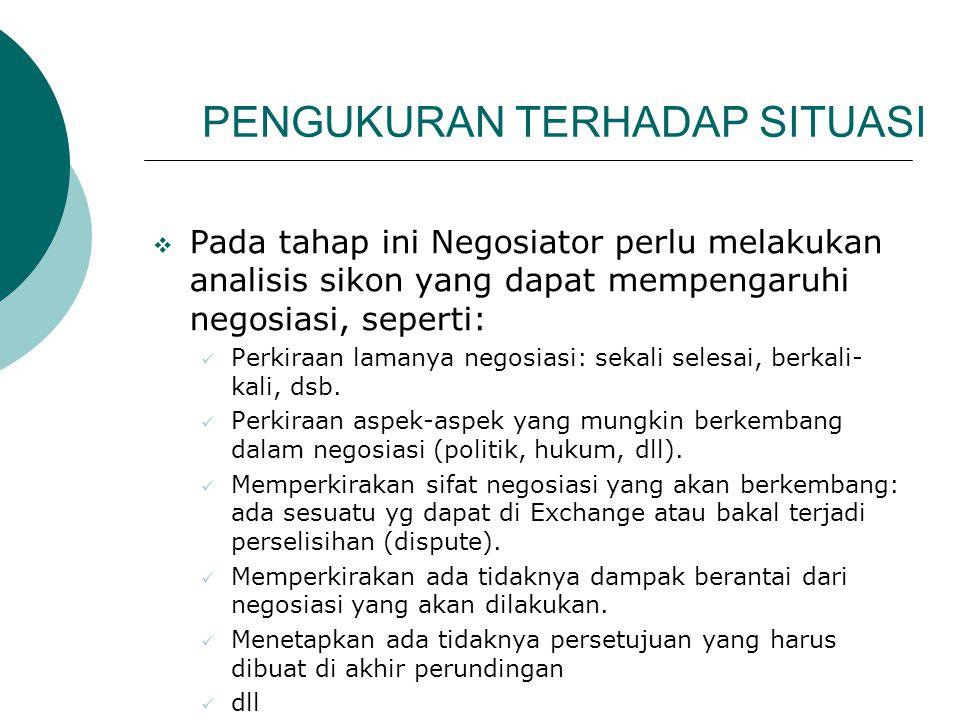 PENGUKURAN TERHADAP SITUASI  Pada tahap ini Negosiator perlu melakukan analisis sikon yang dapat mempengaruhi negosiasi, seperti: Perkiraan lamanya n