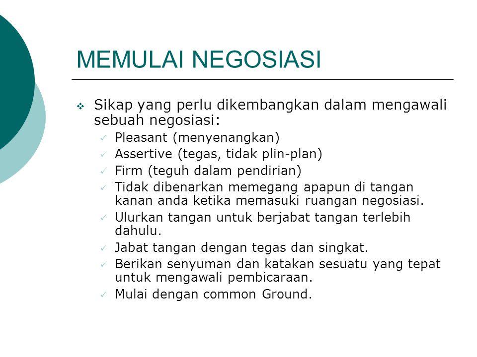 MEMULAI NEGOSIASI  Sikap yang perlu dikembangkan dalam mengawali sebuah negosiasi: Pleasant (menyenangkan) Assertive (tegas, tidak plin-plan) Firm (t