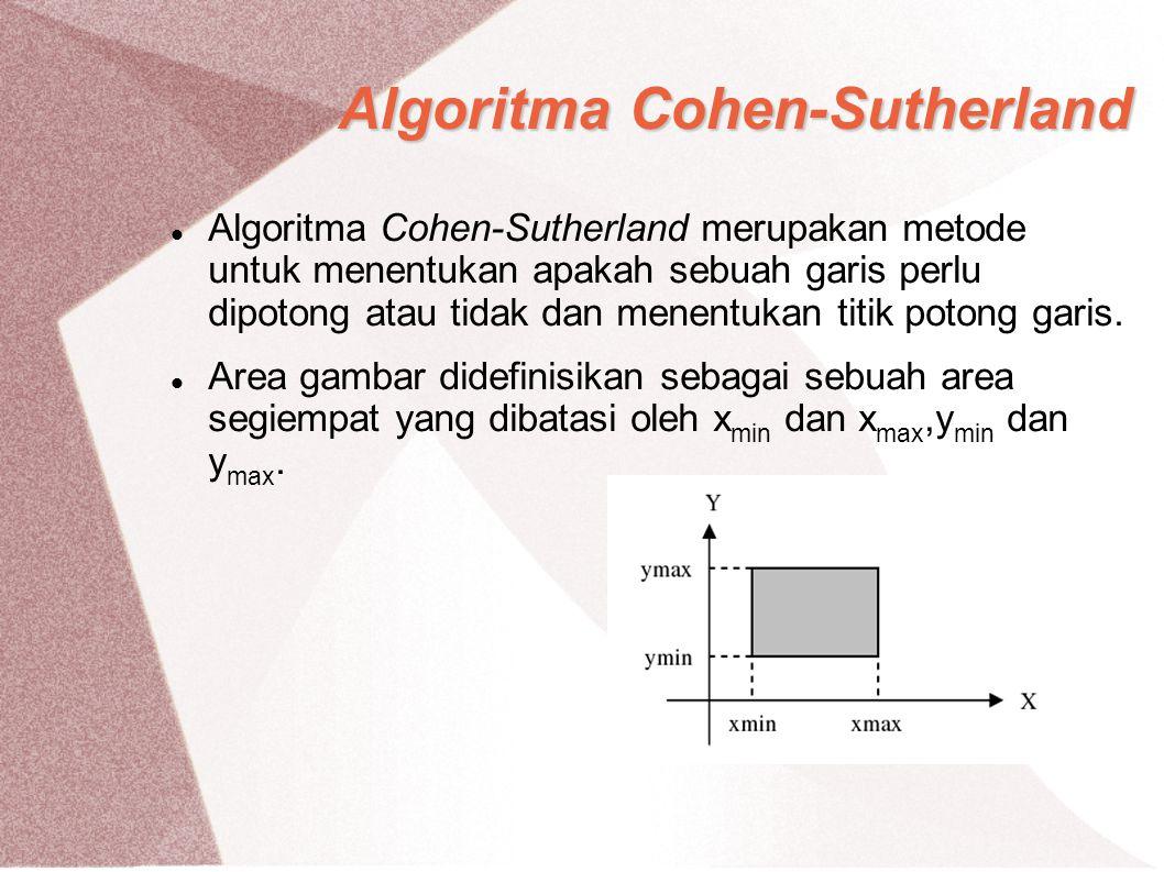 Algoritma Cohen-Sutherland Algoritma Cohen-Sutherland merupakan metode untuk menentukan apakah sebuah garis perlu dipotong atau tidak dan menentukan t