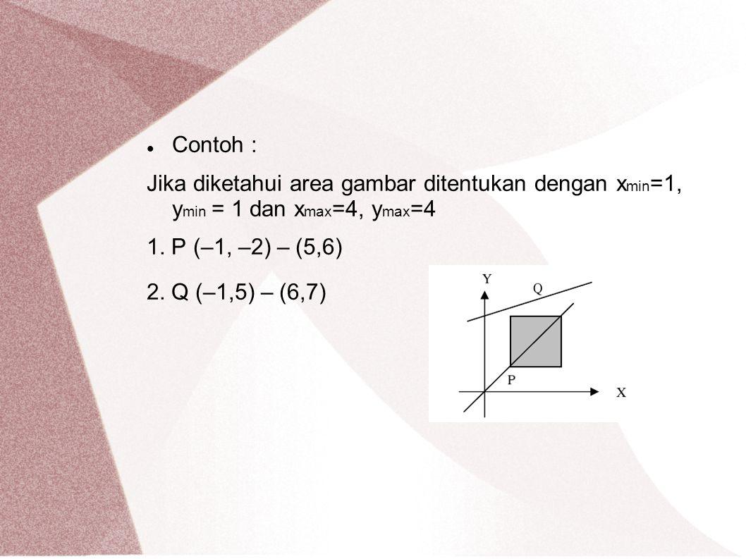 Contoh : Jika diketahui area gambar ditentukan dengan x min =1, y min = 1 dan x max =4, y max =4 1. P (–1, –2) – (5,6) 2. Q (–1,5) – (6,7)