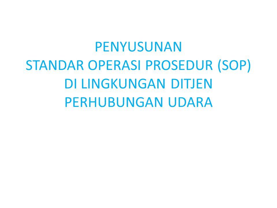 Dasar Hukum SOP 1.Undang-undang Nomor 28 Tahun 1999 tentang Penyelenggaraan Pemerintahan Yang Bersih dan Bebas KKN; 2.Peraturan Pemerintah Nomor 68 Tahun 1999 tentang Tata Cara Peran Serta Masyarakat Dalam penyelenggaraan Negara; 3.Peraturan Presiden Nomor 24 Tahun 2010 tentang Kedudukan, Tugas, dan Fungsi Kementerian Negara serta Susunan Organisasi, Tugas, dan Fungsi Eselon I Kementerian Negara sebagaimana telah diubah terakhir dengan Peraturan Presiden Nomor 92 Tahun 2011; 4.Keputusan Menteri Pendayagunaan Aparatur Negara Nomor 63/KEPIM.PAN/71/2003 tentang Pedoman Umum Penyelenggaraan Pelayanan Publik; 5.Peraturan Menteri Negara Pendayagunaan Aparatur Negara Nomor PER/21/M.PAN/11/2008 tentang Pedoman Penyusunan Standar Operating Prosedur (SOP) Administrasi Pemerintahan; 6.Peraturan Menteri Negara Pendayagunaan Aparatur Negara dan Reformasi Birokrasi Nomor 12 Tahun 2011 tentang Pedoman Penataan Tatalaksana.