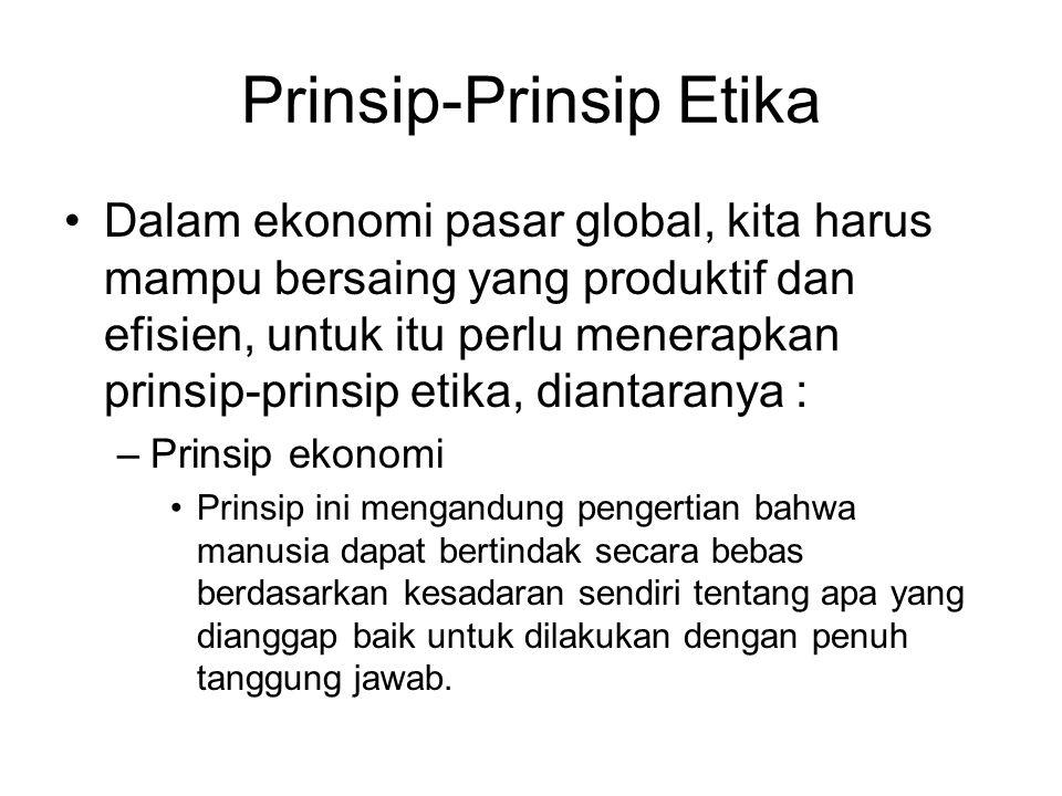 Prinsip-Prinsip Etika Dalam ekonomi pasar global, kita harus mampu bersaing yang produktif dan efisien, untuk itu perlu menerapkan prinsip-prinsip eti