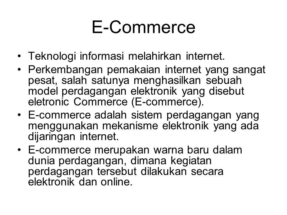 E-Commerce Teknologi informasi melahirkan internet. Perkembangan pemakaian internet yang sangat pesat, salah satunya menghasilkan sebuah model perdaga