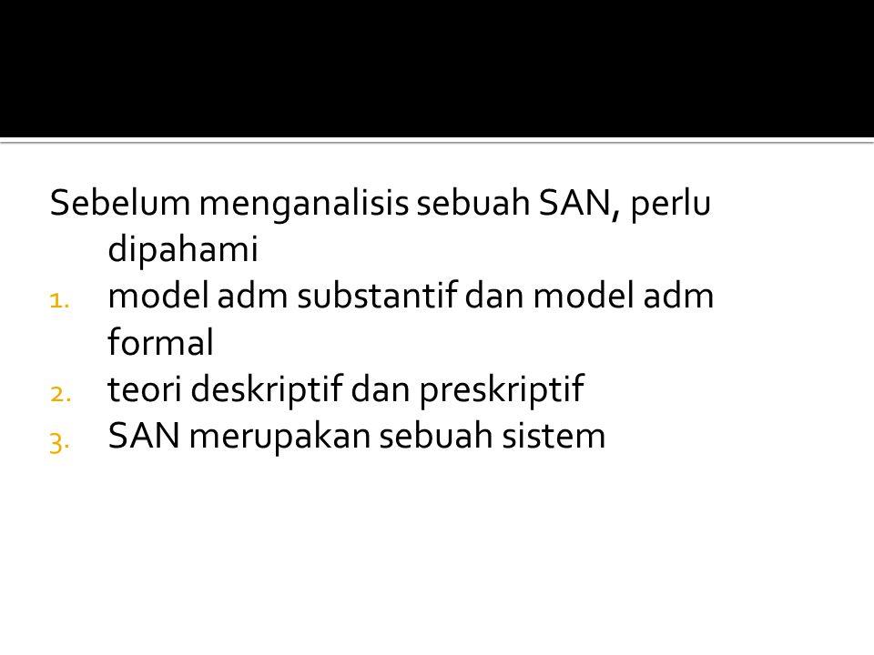 Sebelum menganalisis sebuah SAN, perlu dipahami 1. model adm substantif dan model adm formal 2. teori deskriptif dan preskriptif 3. SAN merupakan sebu