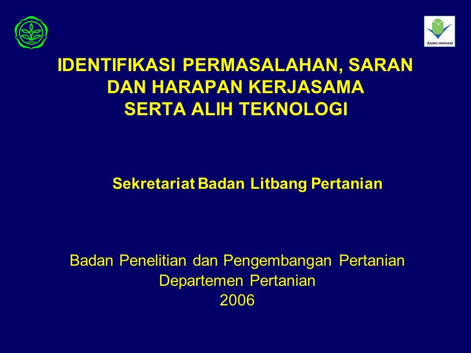 IDENTIFIKASI PERMASALAHAN, SARAN DAN HARAPAN KERJASAMA SERTA ALIH TEKNOLOGI Badan Penelitian dan Pengembangan Pertanian Departemen Pertanian 2006 Sekr
