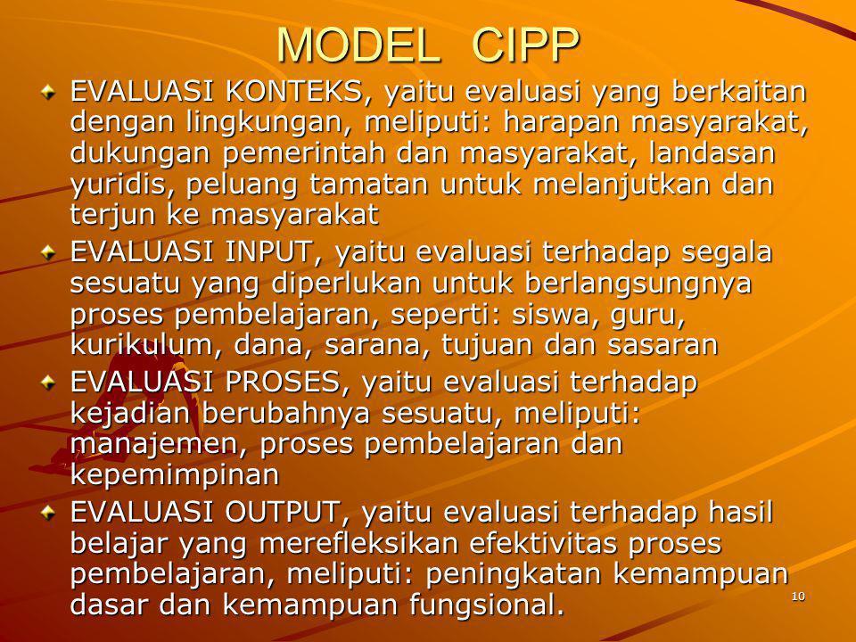 10 MODEL CIPP EVALUASI KONTEKS, yaitu evaluasi yang berkaitan dengan lingkungan, meliputi: harapan masyarakat, dukungan pemerintah dan masyarakat, lan