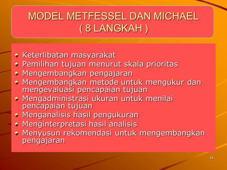 11 MODEL METFESSEL DAN MICHAEL ( 8 LANGKAH ) Keterlibatan masyarakat Pemilihan tujuan menurut skala prioritas Mengembangkan pengajaran Mengembangkan m