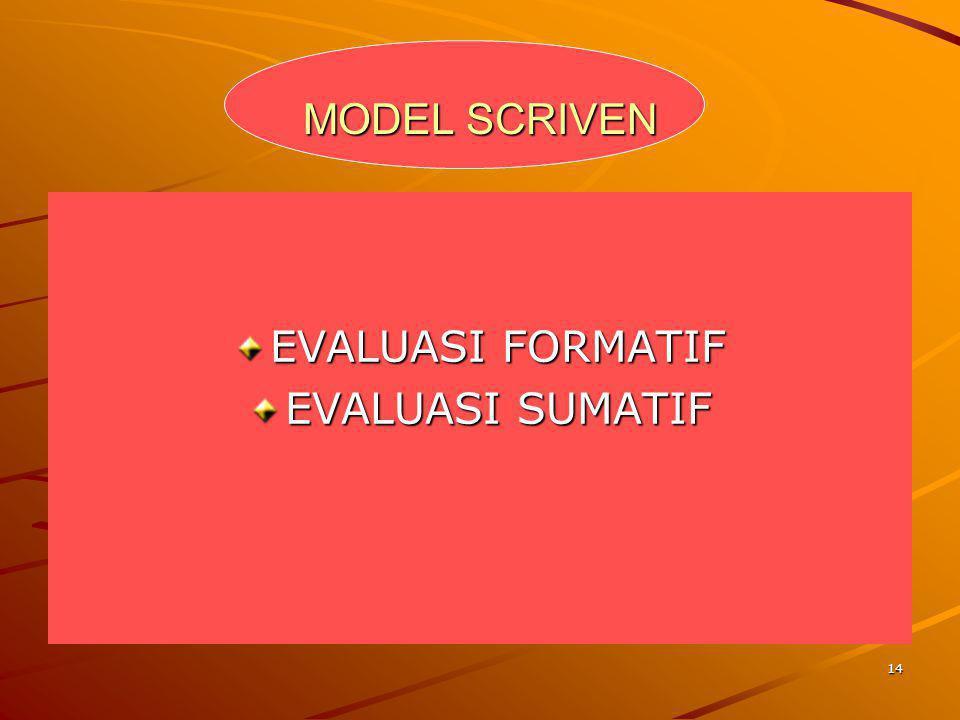 14 MODEL SCRIVEN EVALUASI FORMATIF EVALUASI SUMATIF