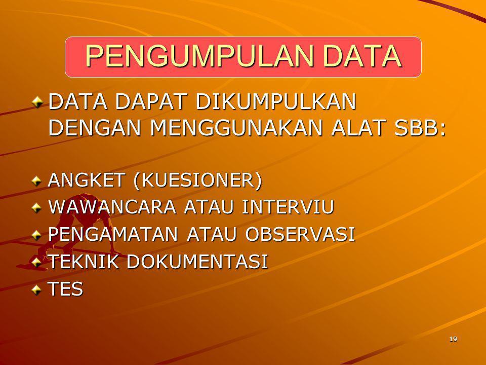 19 PENGUMPULAN DATA DATA DAPAT DIKUMPULKAN DENGAN MENGGUNAKAN ALAT SBB: ANGKET (KUESIONER) WAWANCARA ATAU INTERVIU PENGAMATAN ATAU OBSERVASI TEKNIK DO