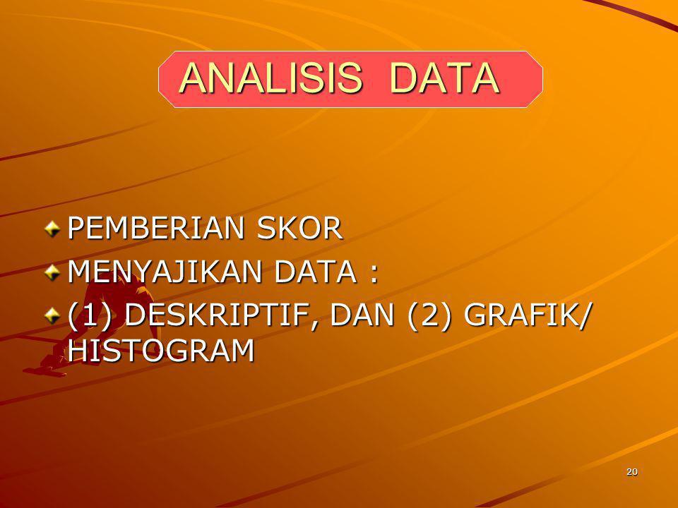 20 ANALISIS DATA PEMBERIAN SKOR MENYAJIKAN DATA : (1) DESKRIPTIF, DAN (2) GRAFIK/ HISTOGRAM