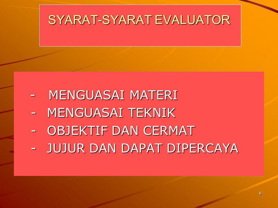 6 SYARAT-SYARAT EVALUATOR - MENGUASAI MATERI - MENGUASAI MATERI -MENGUASAI TEKNIK -OBJEKTIF DAN CERMAT -JUJUR DAN DAPAT DIPERCAYA