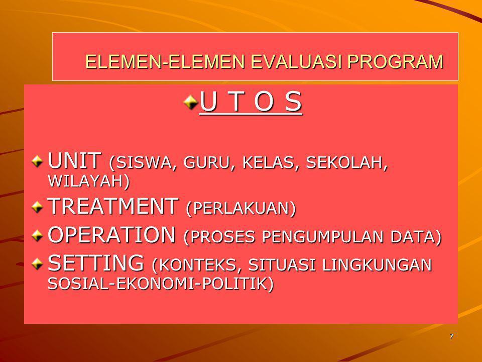 7 ELEMEN-ELEMEN EVALUASI PROGRAM ELEMEN-ELEMEN EVALUASI PROGRAM U T O S UNIT (SISWA, GURU, KELAS, SEKOLAH, WILAYAH) TREATMENT (PERLAKUAN) OPERATION (P