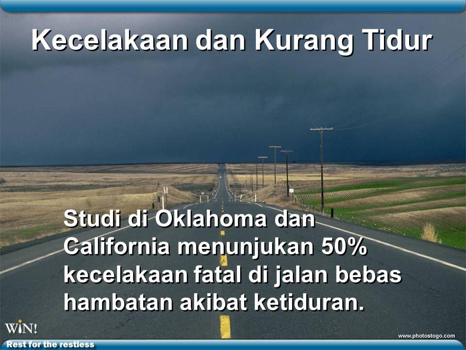 Kecelakaan dan Kurang Tidur Studi di Oklahoma dan California menunjukan 50% kecelakaan fatal di jalan bebas hambatan akibat ketiduran.
