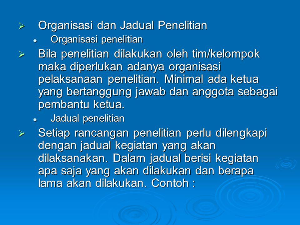  Organisasi dan Jadual Penelitian Organisasi penelitian Organisasi penelitian  Bila penelitian dilakukan oleh tim/kelompok maka diperlukan adanya or