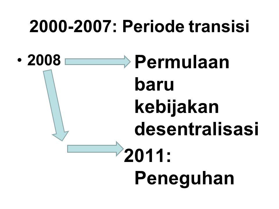 2000-2007: Periode transisi 2008 Permulaan baru kebijakan desentralisasi 2011: Peneguhan