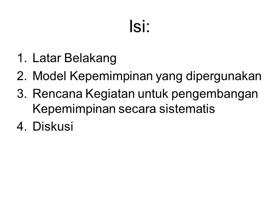 Isi: 1.Latar Belakang 2.Model Kepemimpinan yang dipergunakan 3.Rencana Kegiatan untuk pengembangan Kepemimpinan secara sistematis 4.Diskusi