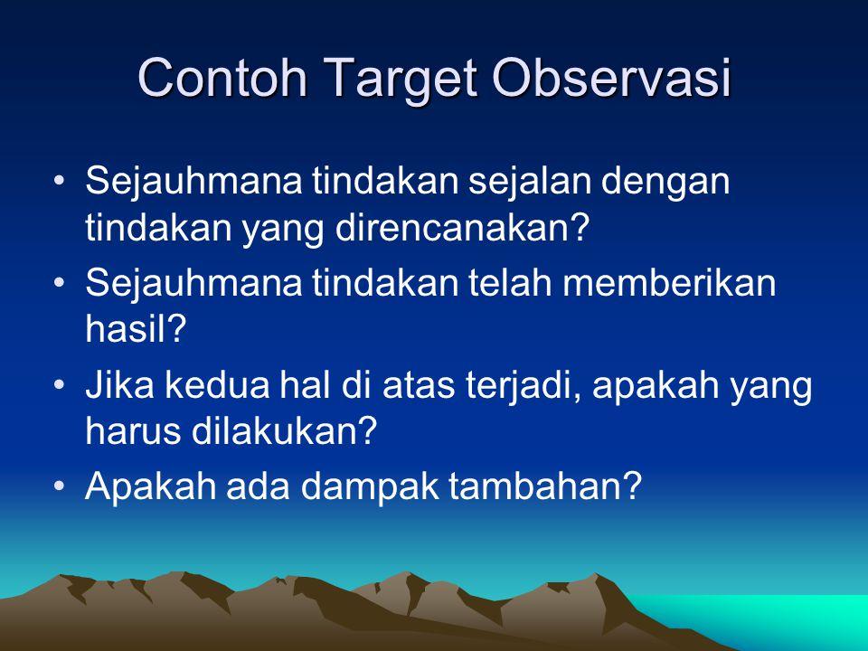 Contoh Target Observasi Sejauhmana tindakan sejalan dengan tindakan yang direncanakan? Sejauhmana tindakan telah memberikan hasil? Jika kedua hal di a
