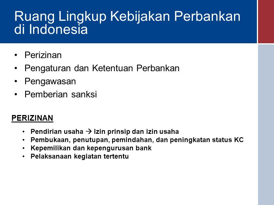 Ruang Lingkup Kebijakan Perbankan di Indonesia Perizinan Pengaturan dan Ketentuan Perbankan Pengawasan Pemberian sanksi PERIZINAN Pendirian usaha  Izin prinsip dan izin usaha Pembukaan, penutupan, pemindahan, dan peningkatan status KC Kepemilikan dan kepengurusan bank Pelaksanaan kegiatan tertentu