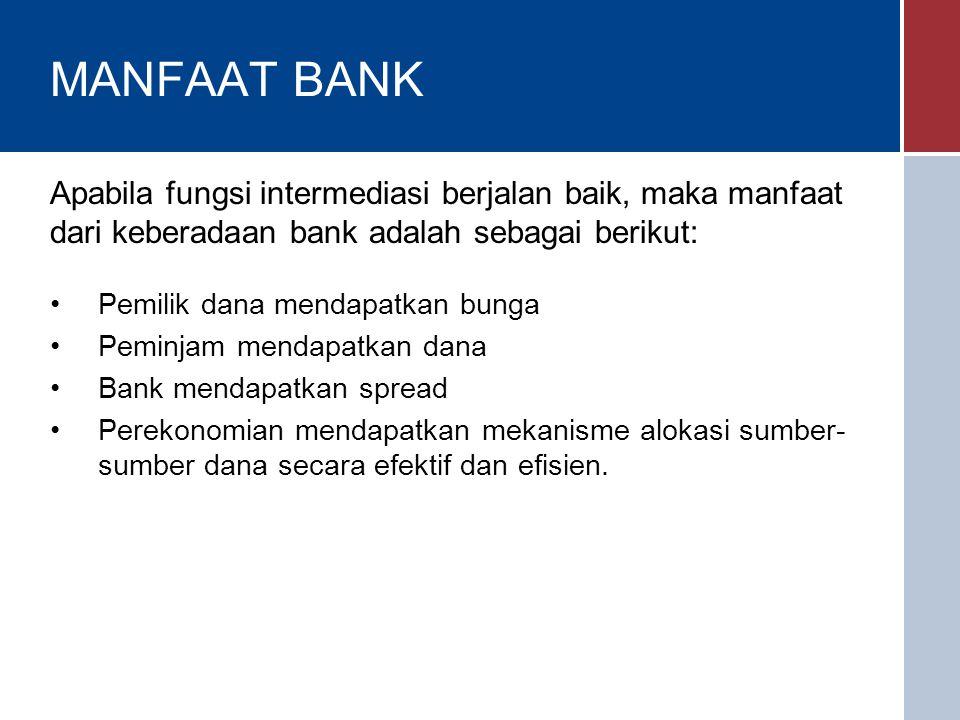 MANFAAT BANK Pemilik dana mendapatkan bunga Peminjam mendapatkan dana Bank mendapatkan spread Perekonomian mendapatkan mekanisme alokasi sumber- sumber dana secara efektif dan efisien.