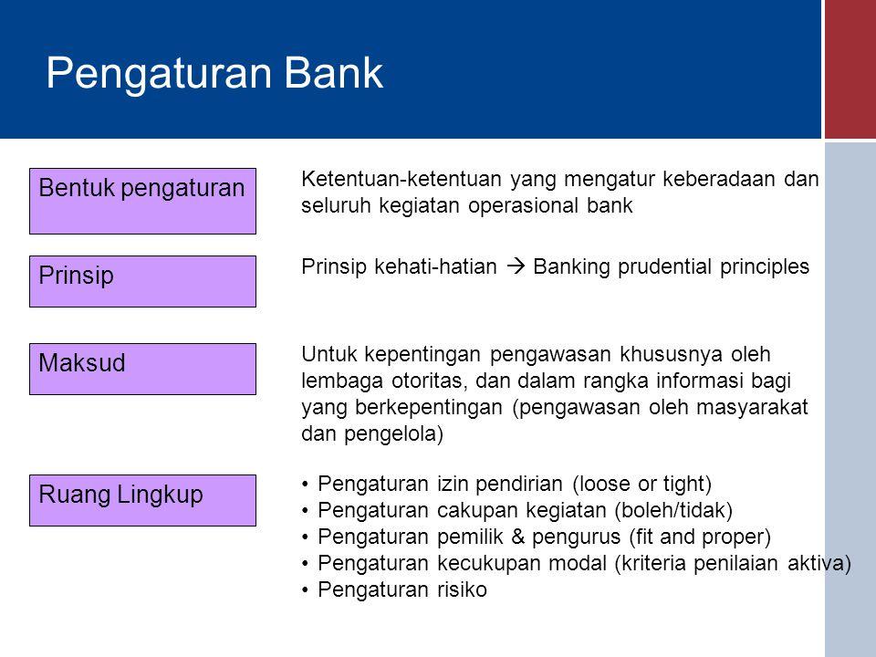 Pengaturan Bank Bentuk pengaturan Prinsip Maksud Ruang Lingkup Ketentuan-ketentuan yang mengatur keberadaan dan seluruh kegiatan operasional bank Prinsip kehati-hatian  Banking prudential principles Untuk kepentingan pengawasan khususnya oleh lembaga otoritas, dan dalam rangka informasi bagi yang berkepentingan (pengawasan oleh masyarakat dan pengelola) Pengaturan izin pendirian (loose or tight) Pengaturan cakupan kegiatan (boleh/tidak) Pengaturan pemilik & pengurus (fit and proper) Pengaturan kecukupan modal (kriteria penilaian aktiva) Pengaturan risiko