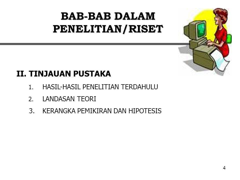 5 BAB-BAB DALAM PENELITIAN/RISET 1.PENENTUAN LOKASI/OBYEK 2.PENENTUAN SAMPEL 3.PENGUMPULAN DATA 4.ANALISIS DATA 5.DEFINISI OPERASIONAL DAN PENGUKURAN VARIABEL III.