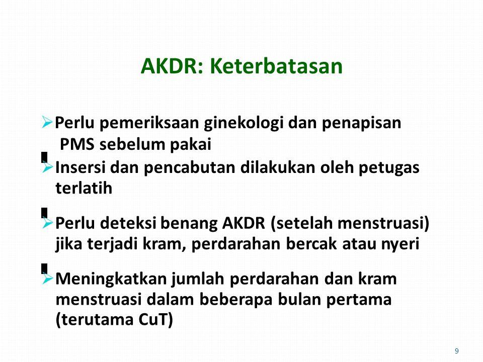 AKDR: Keterbatasan  Perlu pemeriksaan ginekologi dan penapisan PMS sebelum pakai  Insersi dan pencabutan dilakukan oleh petugas terlatih  Perlu deteksi benang AKDR (setelah menstruasi) jika terjadi kram, perdarahan bercak atau nyeri  Meningkatkan jumlah perdarahan dan kram menstruasi dalam beberapa bulan pertama (terutama CuT) 9