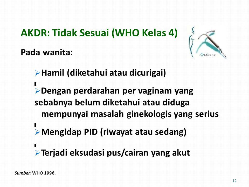 AKDR: Tidak Sesuai (WHO Kelas 4) Pada wanita:  Hamil (diketahui atau dicurigai)  Dengan perdarahan per vaginam yang sebabnya belum diketahui atau diduga mempunyai masalah ginekologis yangserius  Mengidap PID (riwayat atau sedang)  Terjadi eksudasi pus/cairan yang akut Sumber: WHO 1996.