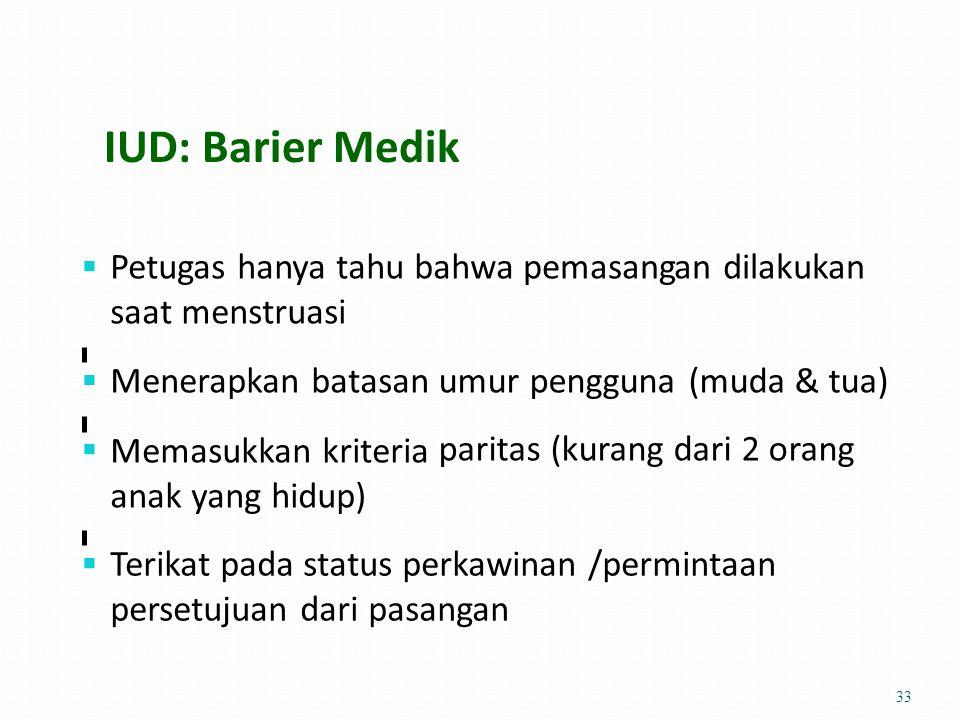 IUD: Barier Medik  Petugas hanya tahu bahwa saat menstruasi pemasangan dilakukan  Menerapkan batasan Memasukkan kriteria anak yang hidup) umur pengguna (muda & tua) paritas (kurang dari 2 orang   Terikat pada status perkawinan /permintaan persetujuan dari pasangan 33