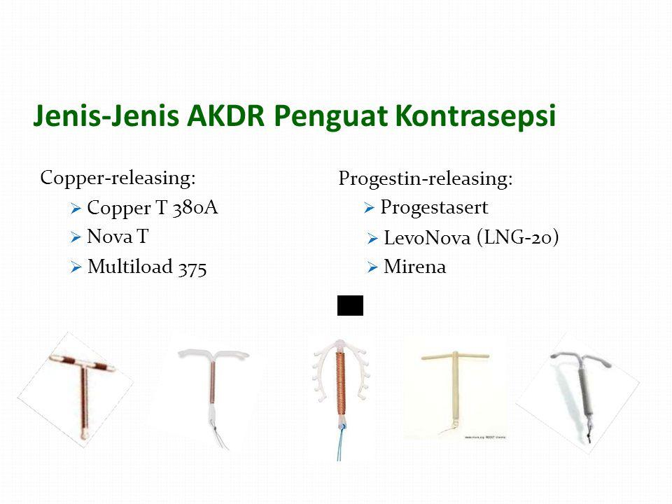 Jenis-Jenis AKDRPenguat Kontrasepsi Copper-releasing: Progestin-releasing:  Progestasert  Copper T  Nova T 380A380A  LevoNova  Mirena (LNG-20)  Multiload 375