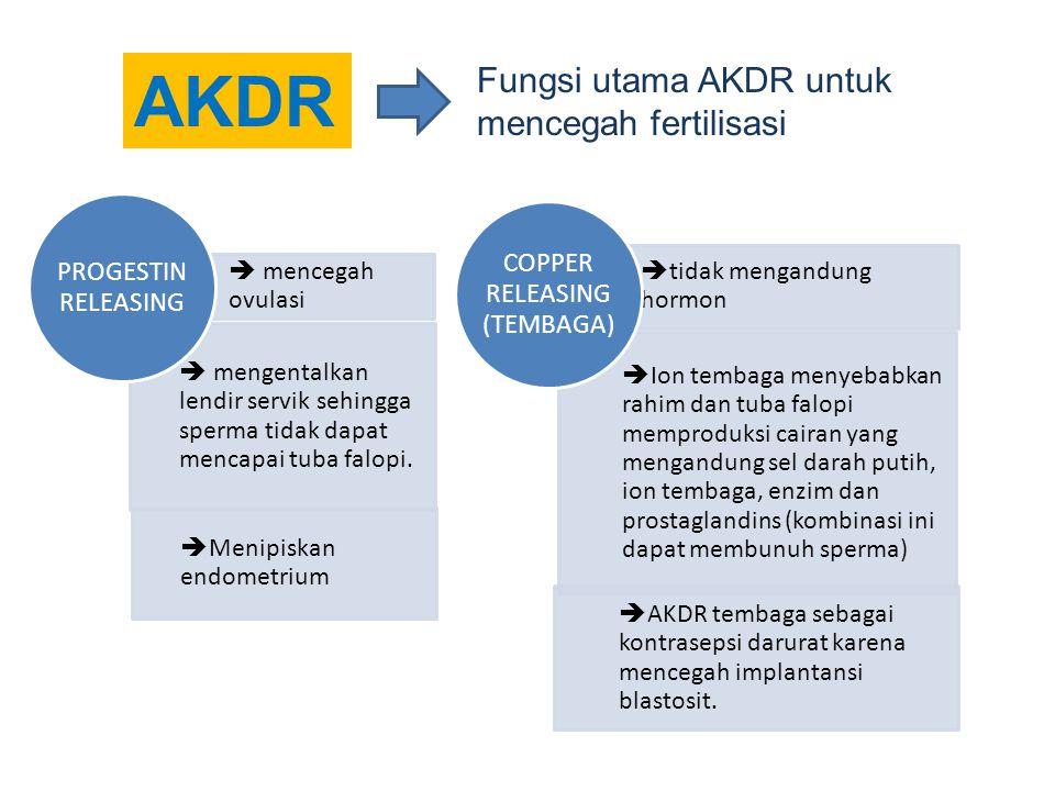 AKDR  mencegah ovulasi  mengentalkan lendir servik sehingga sperma tidak dapat mencapai tuba falopi.