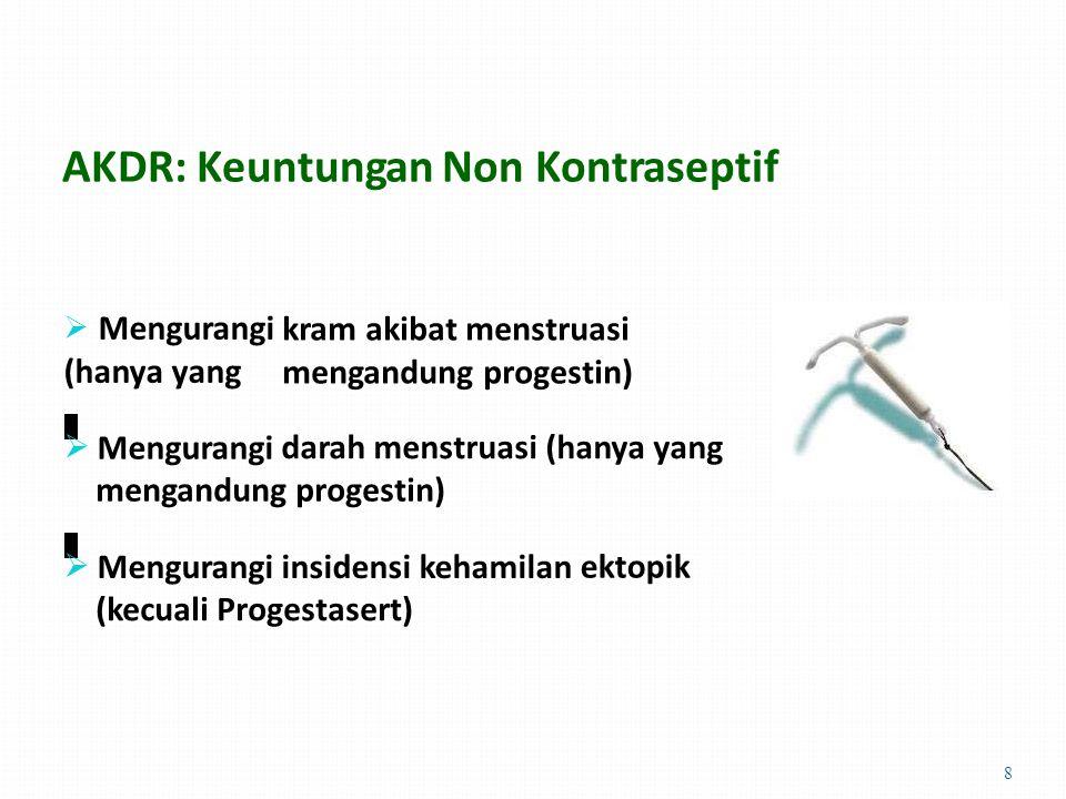 AKDR: Keuntungan Non Kontraseptif  Mengurangi (hanya yang kram akibat menstruasi mengandung progestin)  Mengurangi darah menstruasi (hanya yang mengandung progestin)  Mengurangi insidensi kehamilan ektopik (kecuali Progestasert) 8