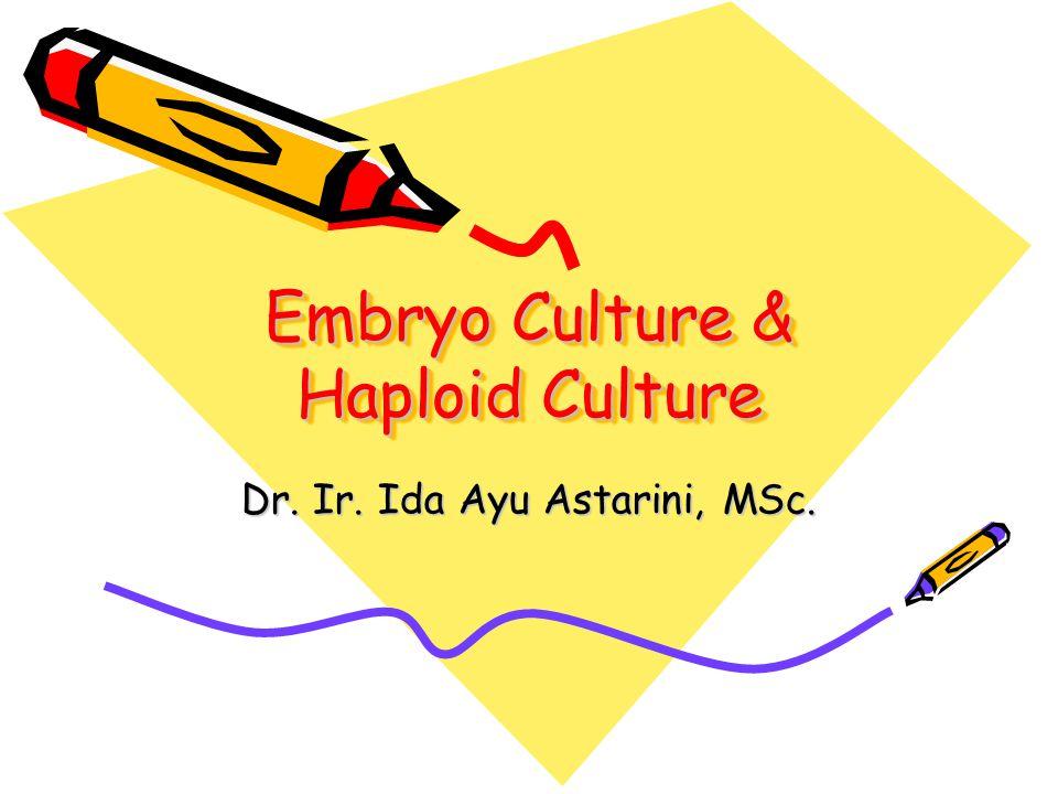 Definisi Kultur Embrio Isolasi secara steril embrio matang ataupun belum matang, dengan tujuan memperoleh tanaman yang viabel 2 macam kultur embrio: –Kultur embrio yg belum matang, utk mencegah keguguran : embryo rescue –Kultur embrio matang, utk merangsang perkecambahan : embryo culture