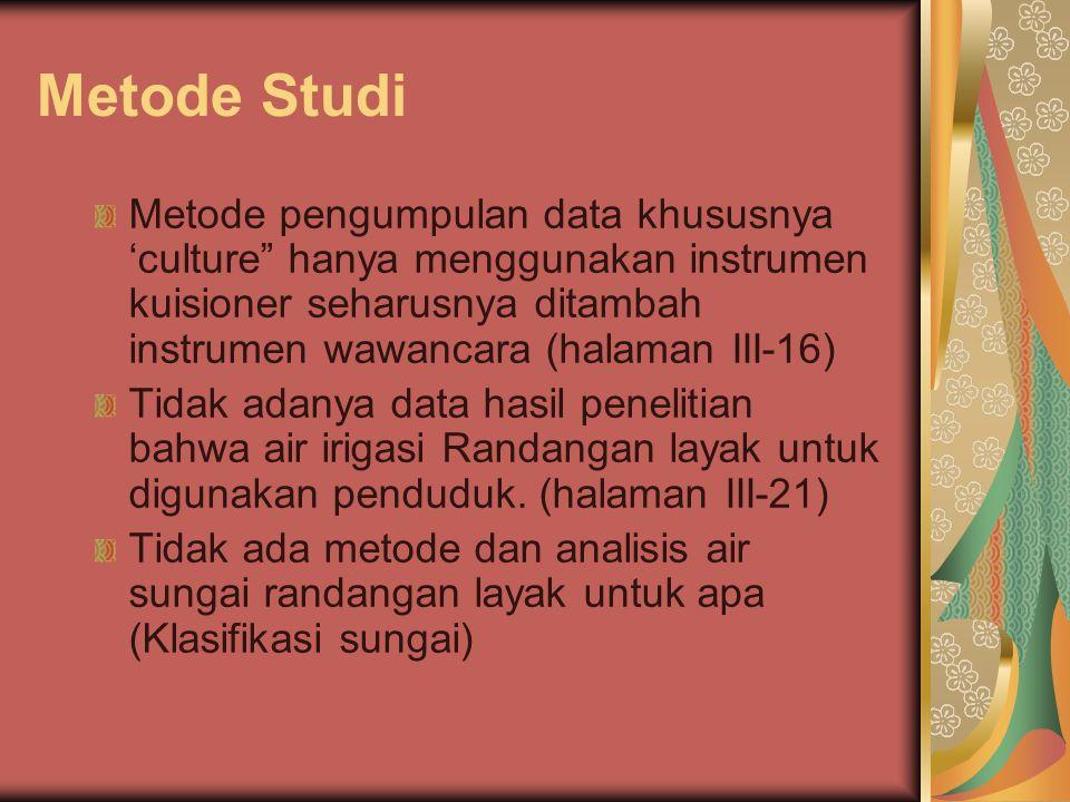 """Metode Studi Metode pengumpulan data khususnya 'culture"""" hanya menggunakan instrumen kuisioner seharusnya ditambah instrumen wawancara (halaman III-16"""