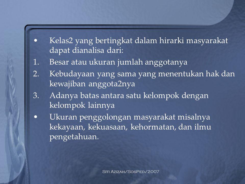 Siti Azizah/SosPed/2007 Stratifikasi sosial bisa terjadi berdasarkan apa yang dianggap penting oleh masyarakat tersebut Fungsi Stratifikasi: 1.Menjelaskan kedudukan individu dalam masyarakatnya 2.Terjadinya perbedaan terhadap sesuatu keperluan pekerjaan yang membutuhkan keterampilan/pengetahuan khusus 3.Perbedaan distribusi penghargaan