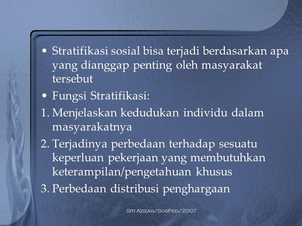 Siti Azizah/SosPed/2007 Stratifikasi sosial bisa terjadi berdasarkan apa yang dianggap penting oleh masyarakat tersebut Fungsi Stratifikasi: 1.Menjela