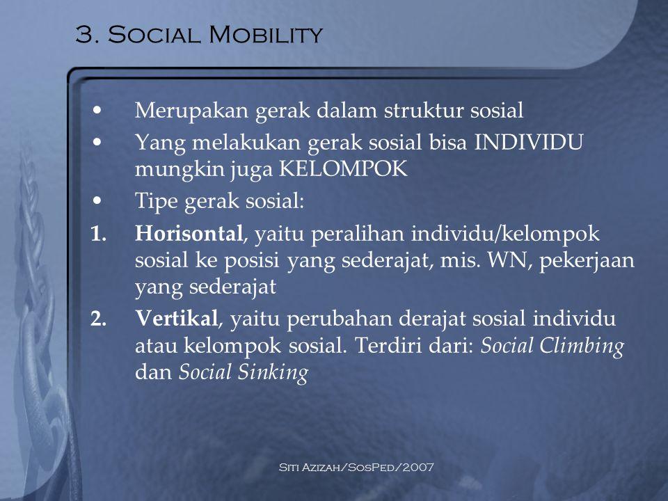 Siti Azizah/SosPed/2007 3. Social Mobility Merupakan gerak dalam struktur sosial Yang melakukan gerak sosial bisa INDIVIDU mungkin juga KELOMPOK Tipe