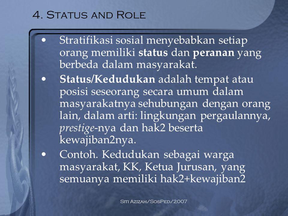 Siti Azizah/SosPed/2007 3 macam: 1.Ascribed status, diperoleh dari kelahiran 2.Achieved status, dicapai dengan usaha yang disengaja 3.Assigned status, diberikan oleh kelompok sosialnya Status conflict, yaitu pertentangan yang timbul akibat 2 kedudukan yang dimiliki seorang individu Status symbol, yaitu ciri2 yang melekat pada sebuah status