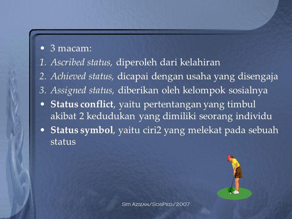 Siti Azizah/SosPed/2007 3 macam: 1.Ascribed status, diperoleh dari kelahiran 2.Achieved status, dicapai dengan usaha yang disengaja 3.Assigned status,