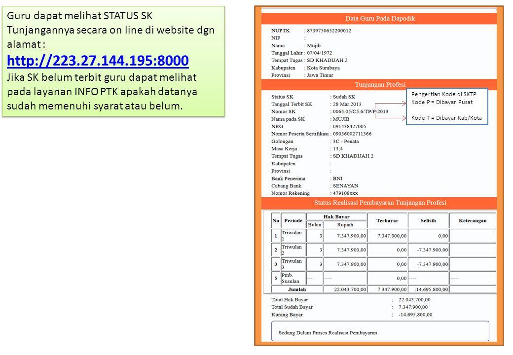 Guru dapat melihat STATUS SK Tunjangannya secara on line di website dgn alamat : http://223.27.144.195:8000 http://223.27.144.195:8000 Jika SK belum t