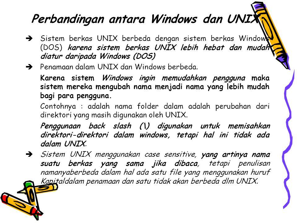 Perbandingan antara Windows dan UNIX  Sistem berkas UNIX berbeda dengan sistem berkas Windows (DOS) karena sistem berkas UNIX lebih hebat dan mudah diatur daripada Windows (DOS)  Penamaan dalam UNIX dan Windows berbeda.