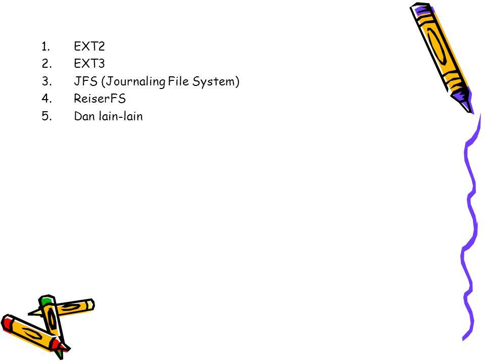 1.EXT2 2.EXT3 3.JFS (Journaling File System) 4.ReiserFS 5.Dan lain-lain