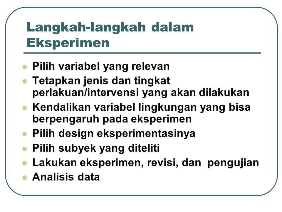 Langkah-langkah dalam Eksperimen Pilih variabel yang relevan Tetapkan jenis dan tingkat perlakuan/intervensi yang akan dilakukan Kendalikan variabel lingkungan yang bisa berpengaruh pada eksperimen Pilih design eksperimentasinya Pilih subyek yang diteliti Lakukan eksperimen, revisi, dan pengujian Analisis data