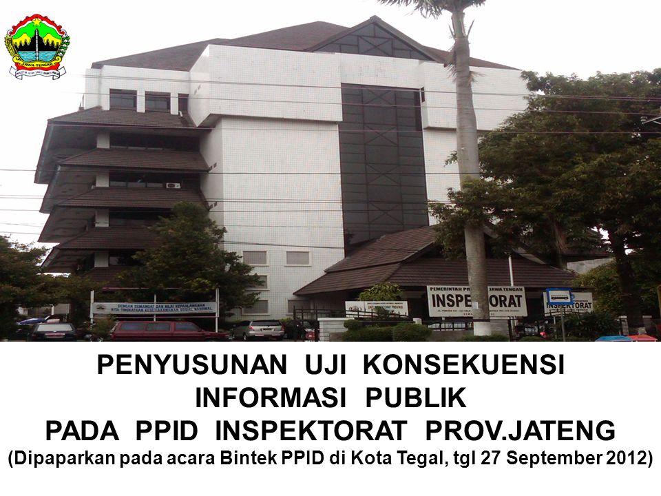 PENYUSUNAN UJI KONSEKUENSI INFORMASI PUBLIK PADA PPID INSPEKTORAT PROV.JATENG (Dipaparkan pada acara Bintek PPID di Kota Tegal, tgl 27 September 2012)