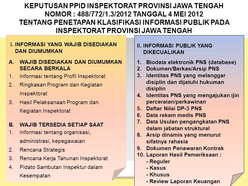 KEPUTUSAN PPID INSPEKTORAT PROVINSI JAWA TENGAH NOMOR : 488/772/1.3/2012 TANGGAL 4 MEI 2012 TENTANG PENETAPAN KLASIFIKASI INFORMASI PUBLIK PADA INSPEKTORAT PROVINSI JAWA TENGAH I.