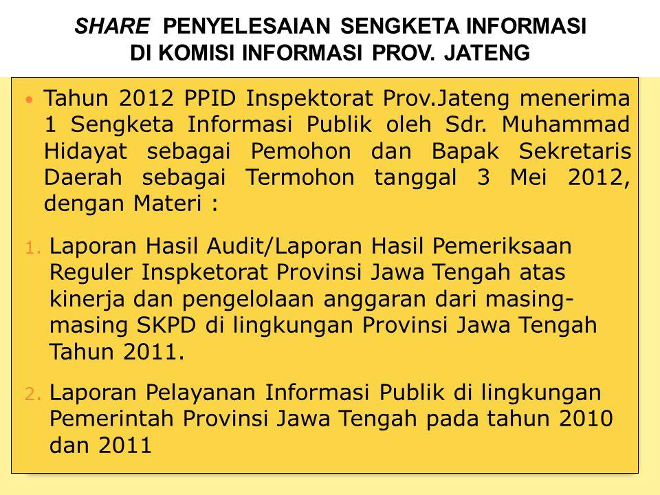 Tahun 2012 PPID Inspektorat Prov.Jateng menerima 1 Sengketa Informasi Publik oleh Sdr.
