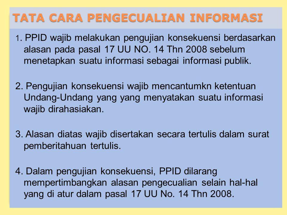 TATA CARA PENGECUALIAN INFORMASI 1.