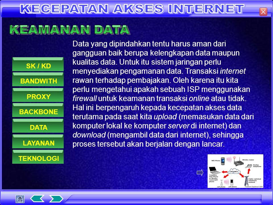 Backbone adalah saluran koneksi utama jaringan ISP dengan internet.