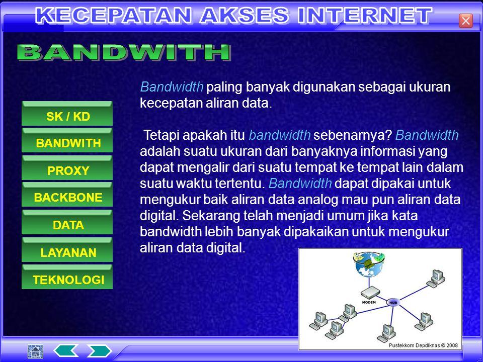 Bandwidth adalah lebar saluran data yang dilewati secara bersama-sama oleh data-data yang di transfer. Bandwidth dapat di analogi kan sebagai sebuah j