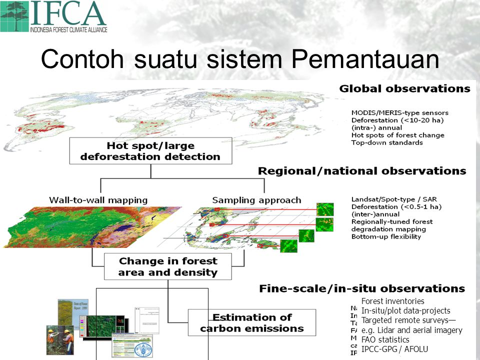 Contoh suatu sistem Pemantauan Forest inventories In-situ/plot data-projects Targeted remote surveys— e.g. Lidar and aerial imagery FAO statistics IPC
