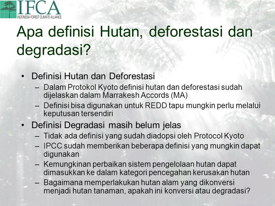 Apa definisi Hutan, deforestasi dan degradasi.